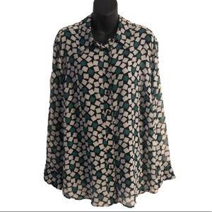 Lane Bryant Button-Up Print Long Sleeve Shirt